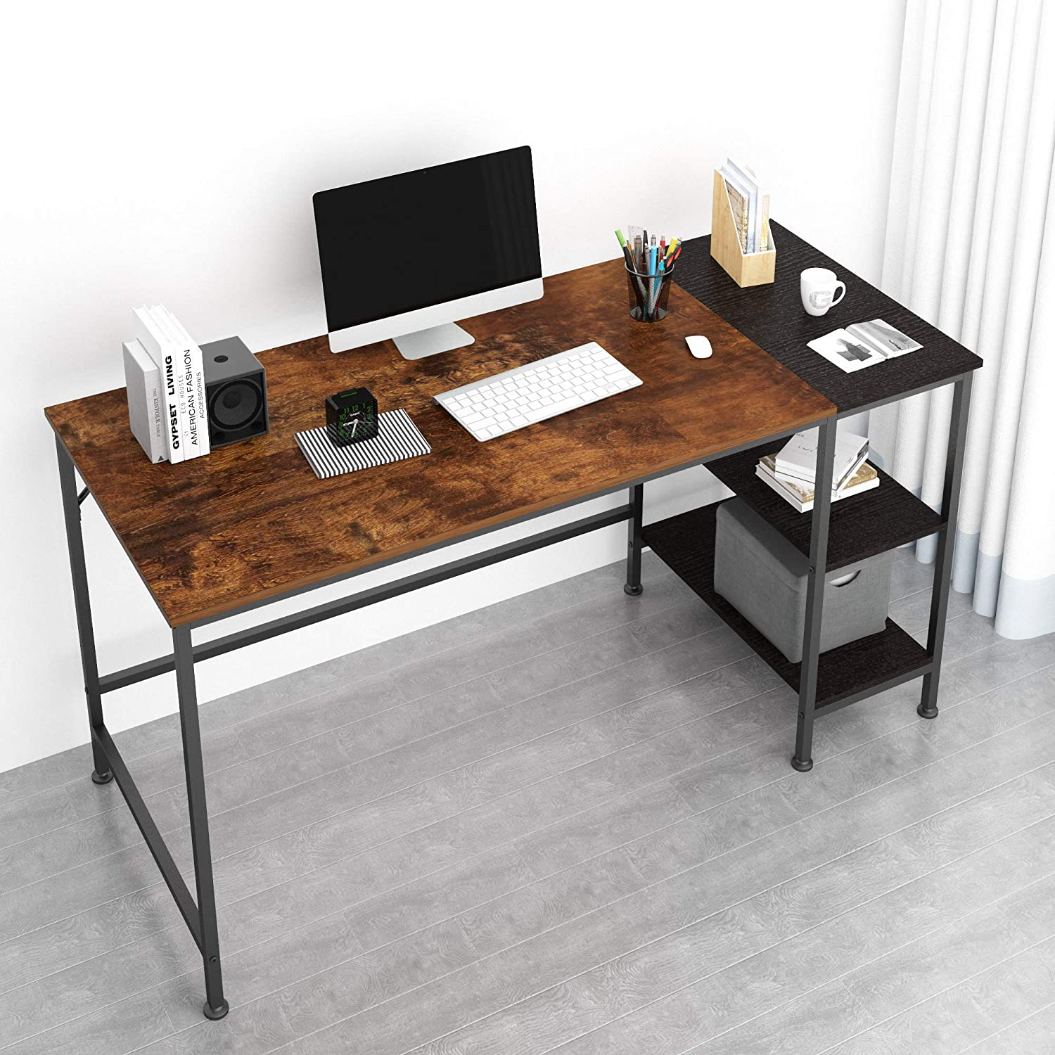 JOISCOPE Computer Desk with Shelves,Laptop Table with Wooden Drawer,55 inches(Vintage Oak Finish)