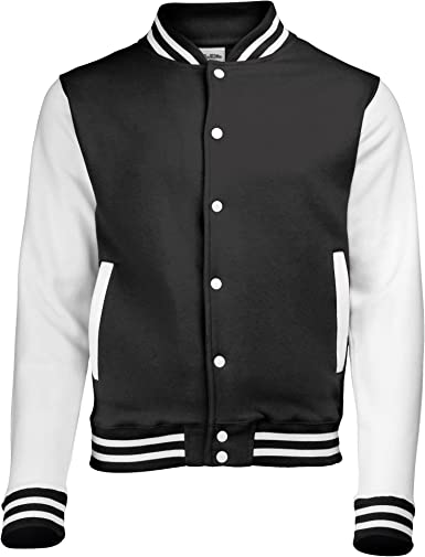 XL Jet Black // White Awdis Unisex Varsity Jacket