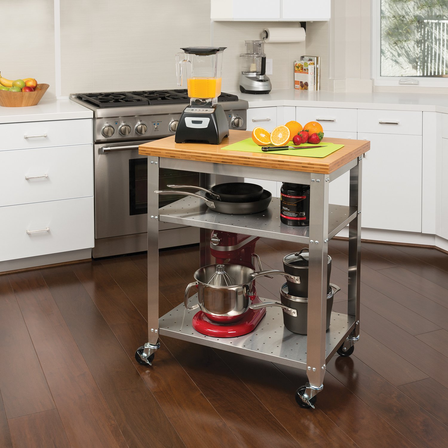 Seville Classics Stainless Steel Kitchen Cart with Bamboo Top ...