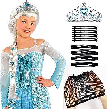 Tacobear Frozen Elsa Peluca Trenza con Princesa Elsa Corona ...