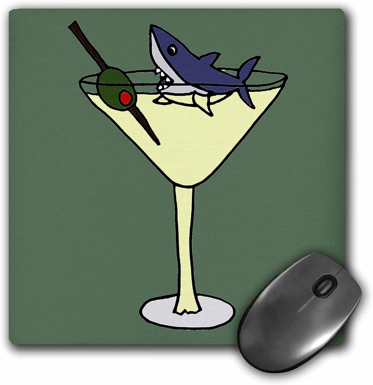 3drose Fun Shark Swimming in Martini Glass - Mouse Pad