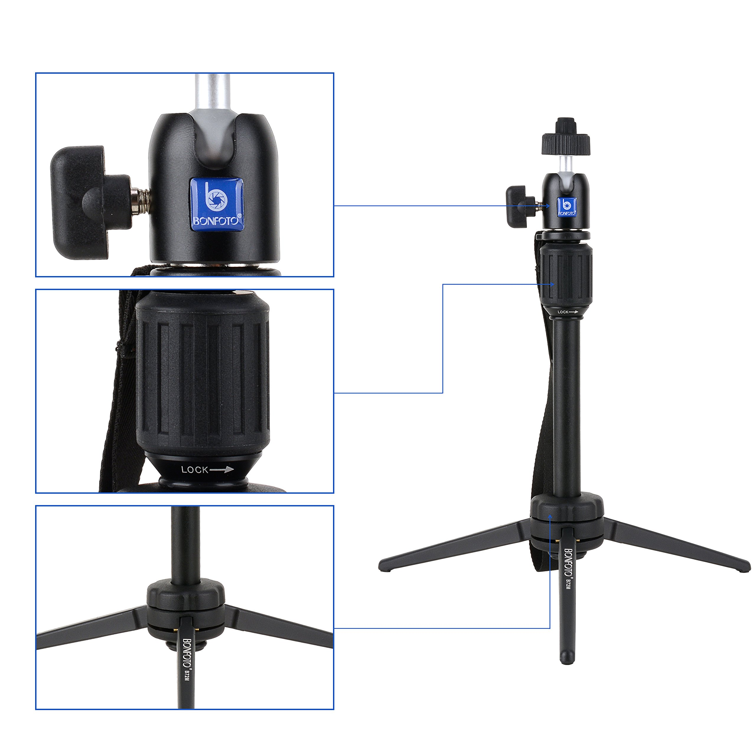BONFOTO Handy Ministativ Kamera Monopod Aluminium Tragbare Standhalter mit Kugelkopf und Handy-clip für DSLR Kameras