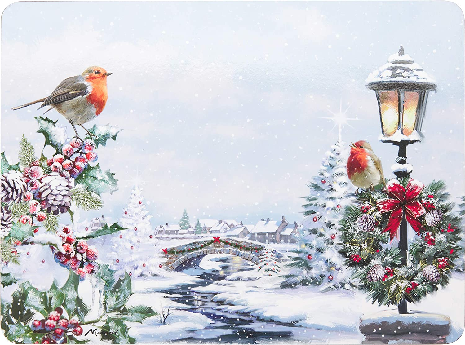 Missdish Winter Robin Christmas Set Of 4 Placemats /& Coasters