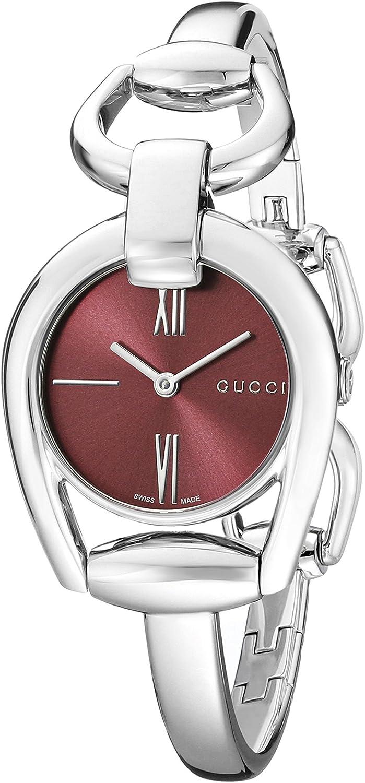 Gucci YA139502 - Reloj de Cuarzo para Mujer, con Correa de Acero Inoxidable, Color Plateado