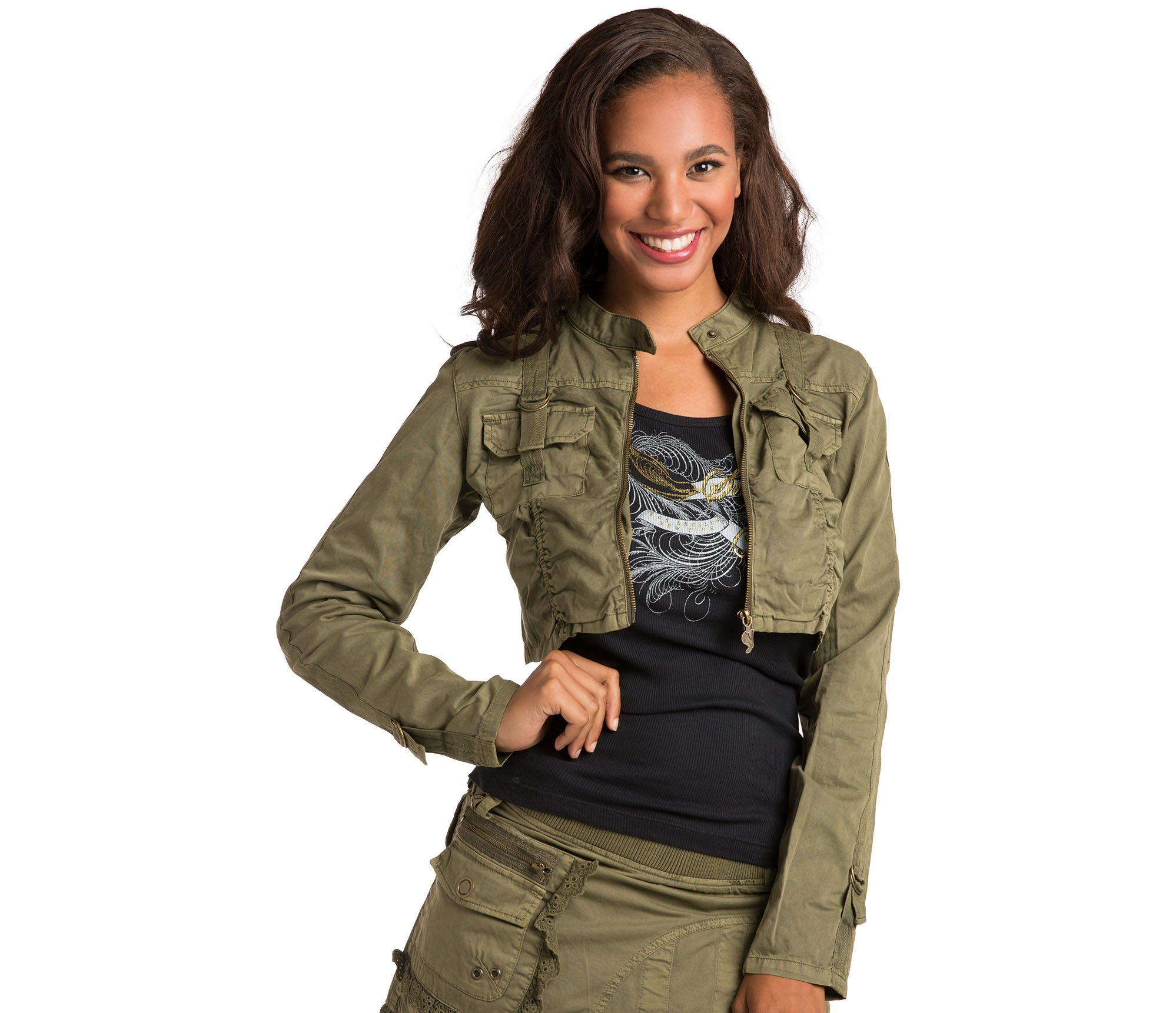 Sweet Vibes Women Stretch Twill Garment Dyed Olive Utility Jacket Lace Strap Size S