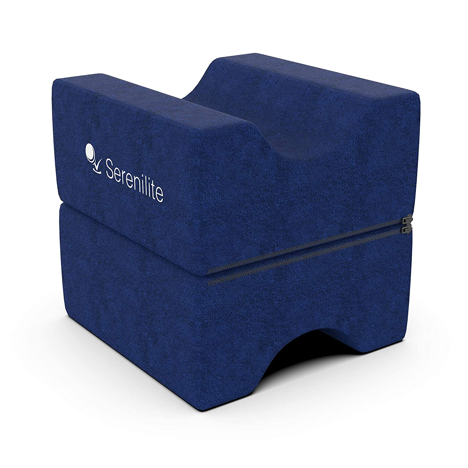 Serenilite Cooling Memory Foam Layered Contour Knee Pillow & Leg Rest - Great for Knee, Leg, Back, Joint, Ankle, Sciatica Pain Relief - Optimal Leg Support & Great for Pregnancy - Plush Velour Cover COMIN16JU045002