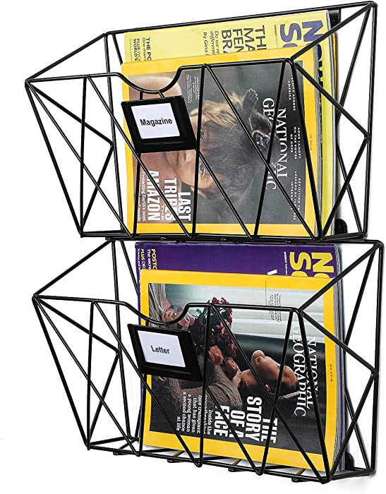 Samstar Wall File Holder, Mesh Wall Mount File Pocket Hanging Mail Organizer Magazine Holder for Office & Home (Pack of 2)