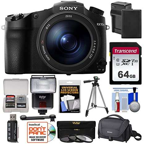 Sony Cyber-Shot DSC-RX10 III 4K Wi-Fi Digital Camera with 64GB Card +  Battery & Charger + Case + Tripod + 3 UV/CPL/ND8 Filters + Flash + Kit