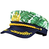 SOIMISS Yacht Hat Adult Captain Hat Monstera Leaf Print Sailor Cap Navy Costume Admiral Cap Party Boat Ship Sailor Hat Men Wo