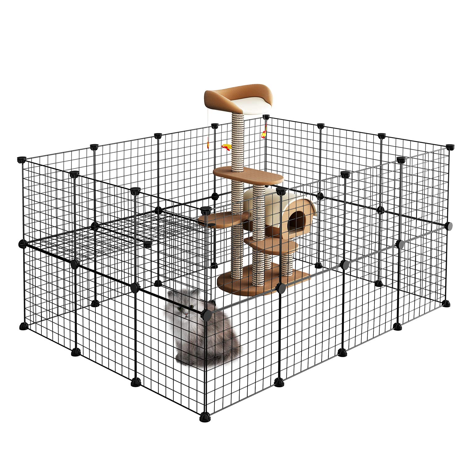 LANGRIA Pet Playpen, DIY Small Animal Cage for Guinea Pigs, Puppy,Rabbit Pet Products Portable Metal Wire Yard Fence Black
