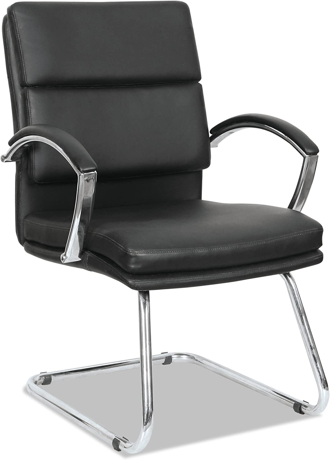 Alera NR4319 Neratoli Series Slim Profile Guest Chair, Black Soft Leather Chrome Frame