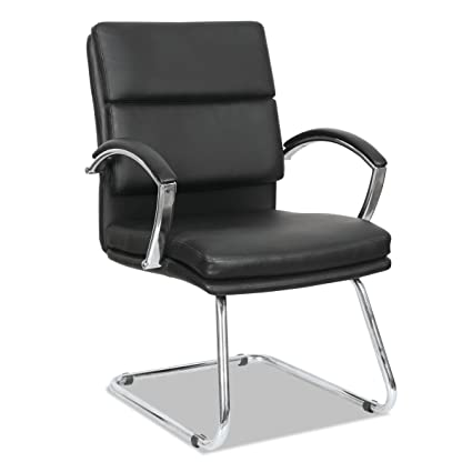 Alera NR4319 Neratoli Series Slim Profile Guest Chair, Black Soft  Leather/Chrome Frame