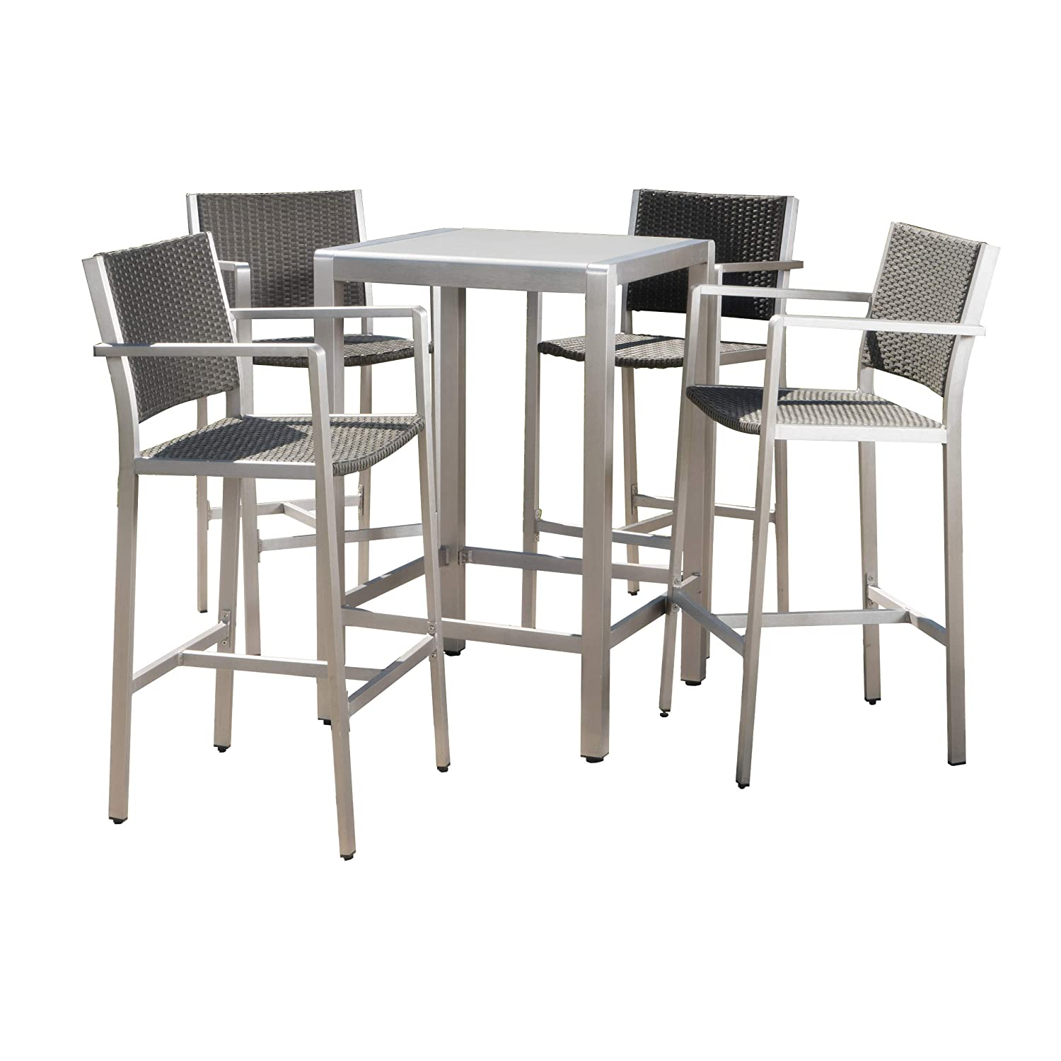 GDF Studio Crested Bay Patio Furniture ~ 5 Piece Outdoor Wicker Aluminum Bar Set (Tempered Glass Table Top)
