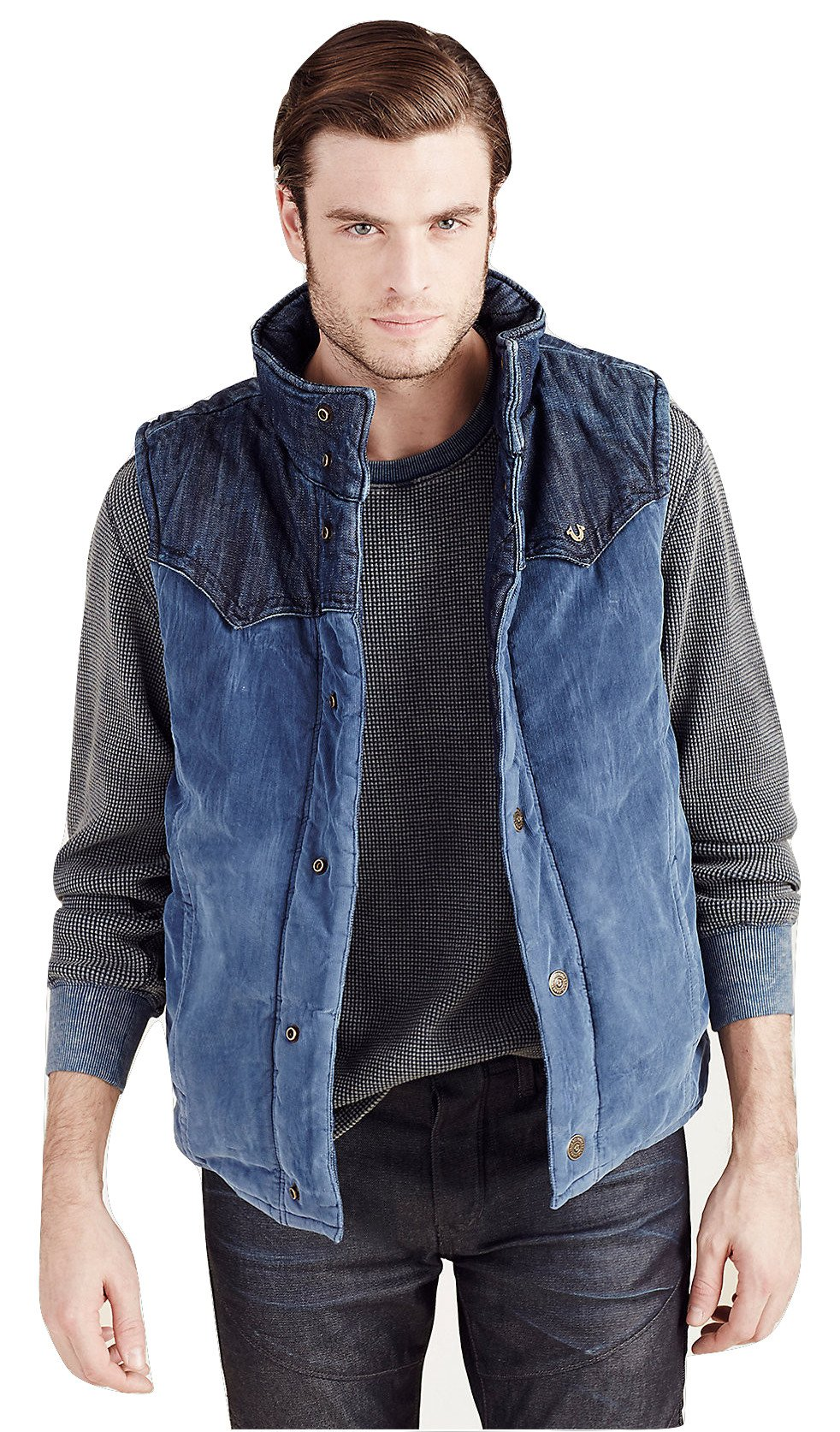 True Religion Mens Reversible Puffer Denim Corduroy Vest Jacket In Indigo (Large)