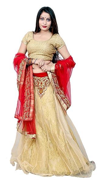1b832f7f511 BHUMIKA FASHION Girls  Net Unstitched Lehenga Choli (Gold and Red)   Amazon.in  Clothing   Accessories