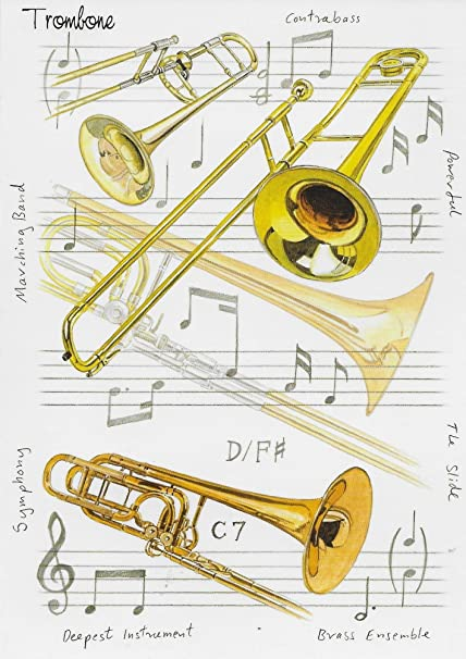The Trombone Blank Greeting Card Amazoncouk Kitchen Home