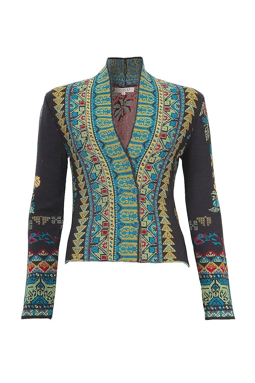 2f49d4b3c72 IVKO Balkan Fusion Geometric Floral Pattern Jacket, Anthracite (US 8 ...