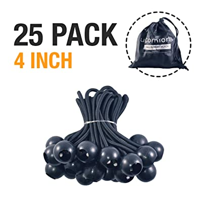 uComforts Premium Black Ball Bungee Cords, Quality 25 Pack of 4 inch Black UV Treated Cord, New Ball Bungee, Bungee Loop with Ball, Ball Bungee Cord, Tarp Bungee Cords (4 inch)