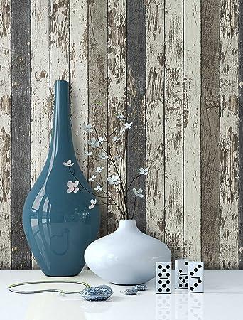 Tapete Vlies Holz Muster In Braun Creme Blau | Schöne Edle Tapete Im  Antikholz Design |