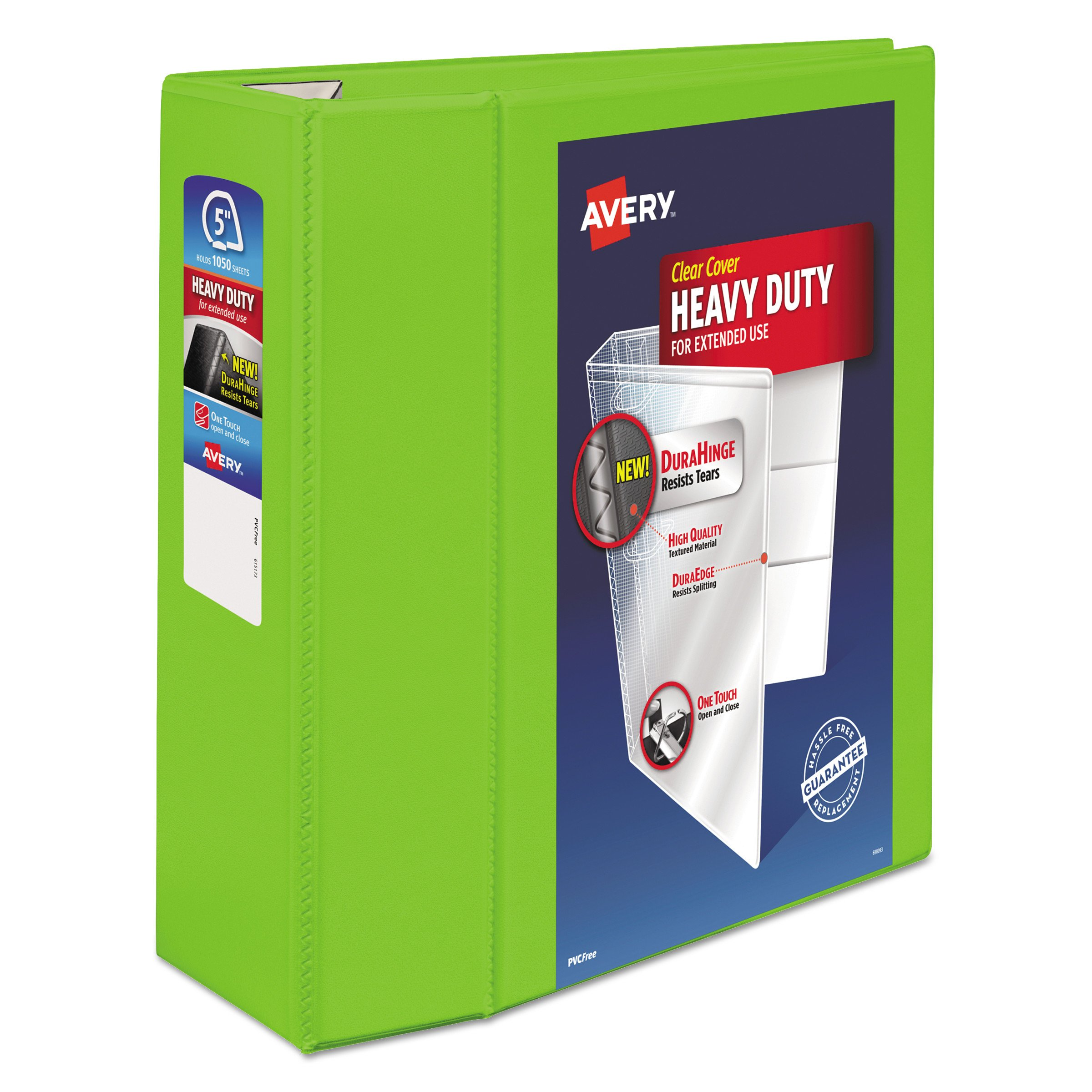 Avery Heavy Duty View 3 Ring Binder, 5'' One Touch EZD Ring, Holds 8.5'' x 11'' Paper, 1 Chartreuse Binder (79815) by AVERY