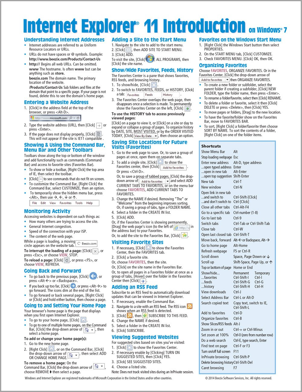 Download Internet Explorer 11 for Windows 7 Quick Reference Guide (Cheat Sheet of Instructions, Tips & Shortcuts - Laminated Card) pdf