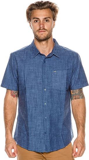 Hurley Mens Printed Short Sleeve Button Down Woven Shirt