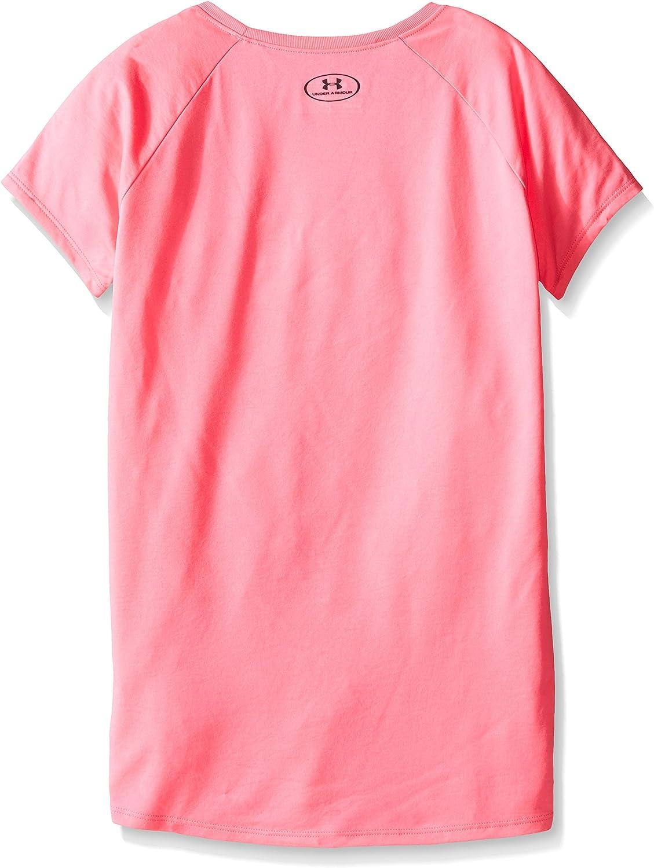 Camiseta de manga corta de color s/ólido con impresi/ón de logo para ni/ñas de Under Armour