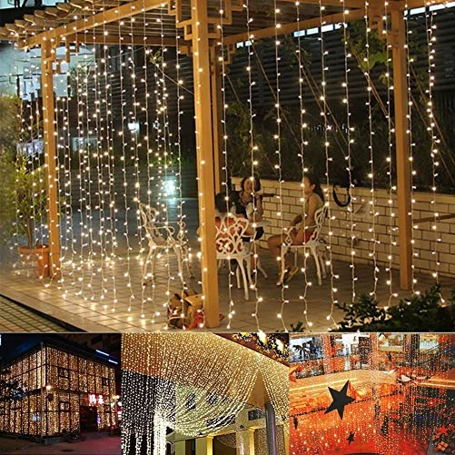 Auelife Curtain Icicle Lights, 19.5ft x 9.8ft 600 LED Fairy String Lights with 8 Modes for Wedding Christmas Holiday Party Home Decoration, UL Listed Warm White