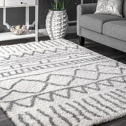 NuLOOM Soft And Plush Geometric Drawings Shag Area Rugs, 5u0027 3u0026quot; ...