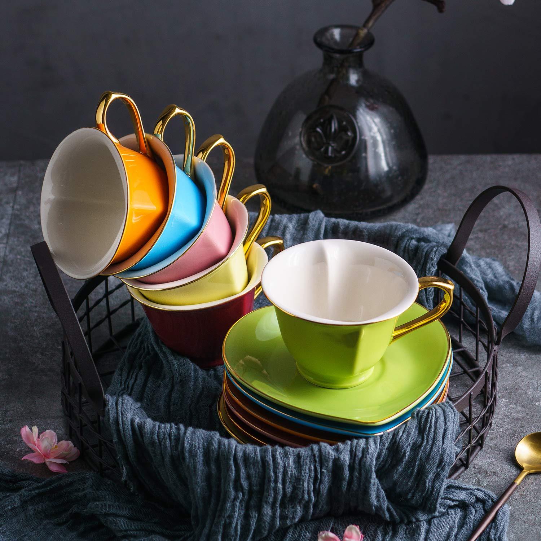 Herz-Design 12 TLG Geschenkverpackung Bunt Kaffeeservice Tee Set Artvigor Set Porzellan Kaffeetassen 100 ml mit Untertassen