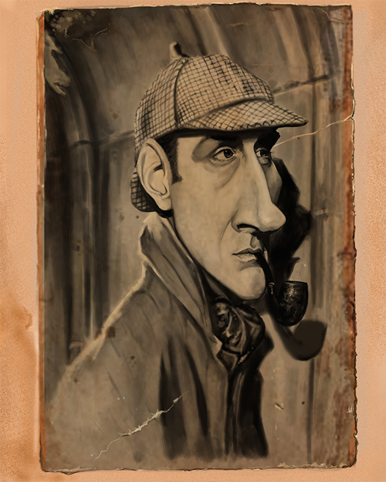 Basil Rathbone Sherlock Holmes Caricature Limited Edition (1 of 20) Giclee on Canvas: Signed, Numbered, Personalized Certificate of Authenticity, Ready to Hang, Great Home & Office Wall Decor, Gift
