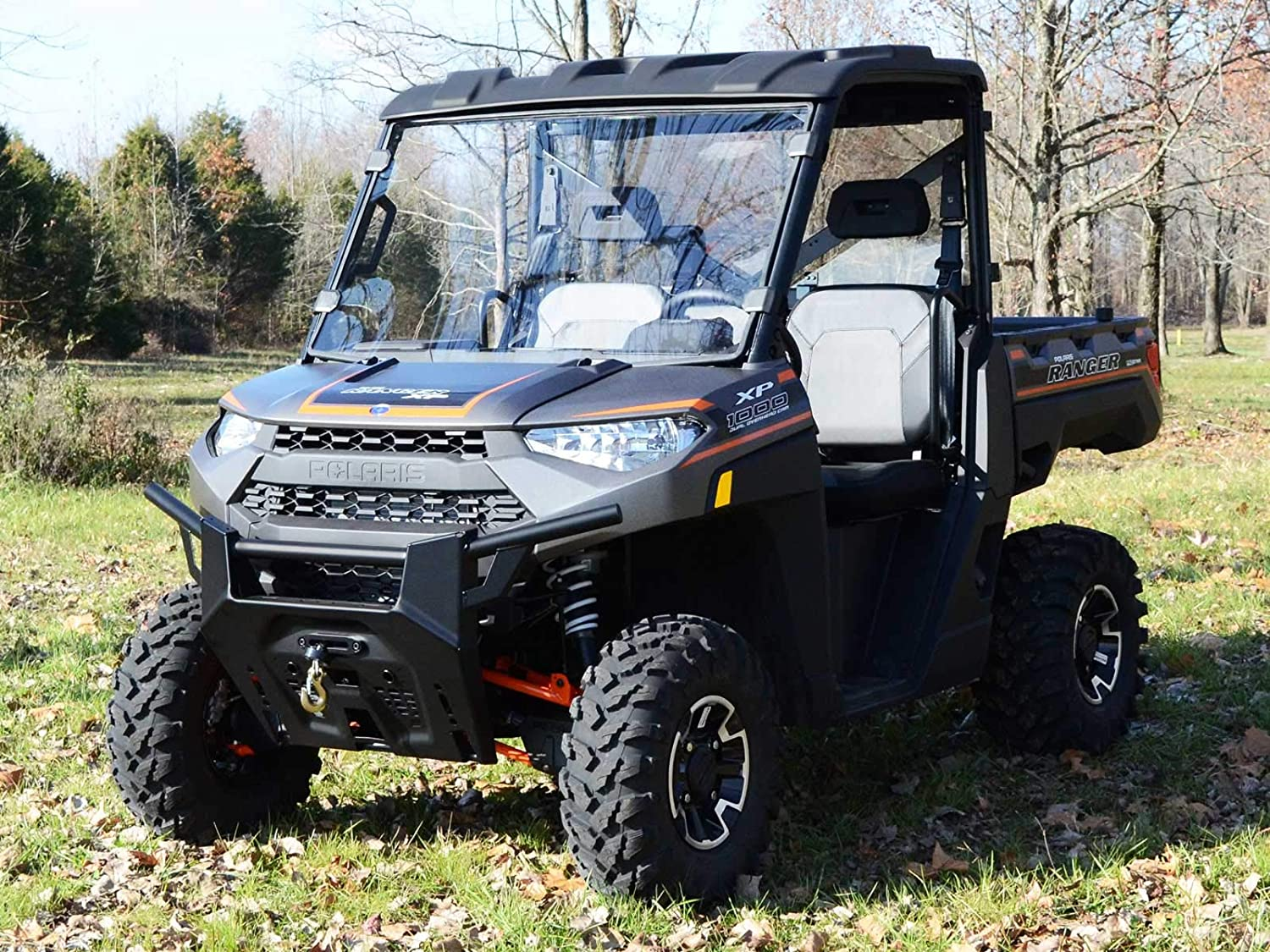 Installs in 5 Minutes! SuperATV Heavy Duty Clear Full Windshield for Polaris Ranger Full Size XP 570//570 Crew PRO-FIT Cab 2015-2016
