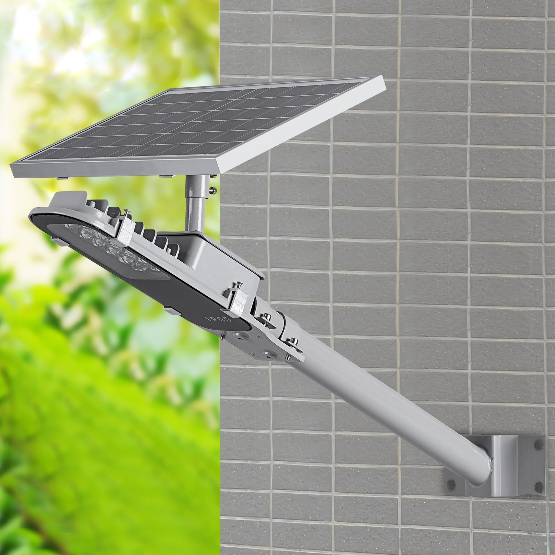 SHANGBOYI Solar Street Light 10W 600 Lumens Post Light IP65 LED Solar Motion Path Light with Light Sensor Control for Street, Garden, Outdoor (Silvery Grey)