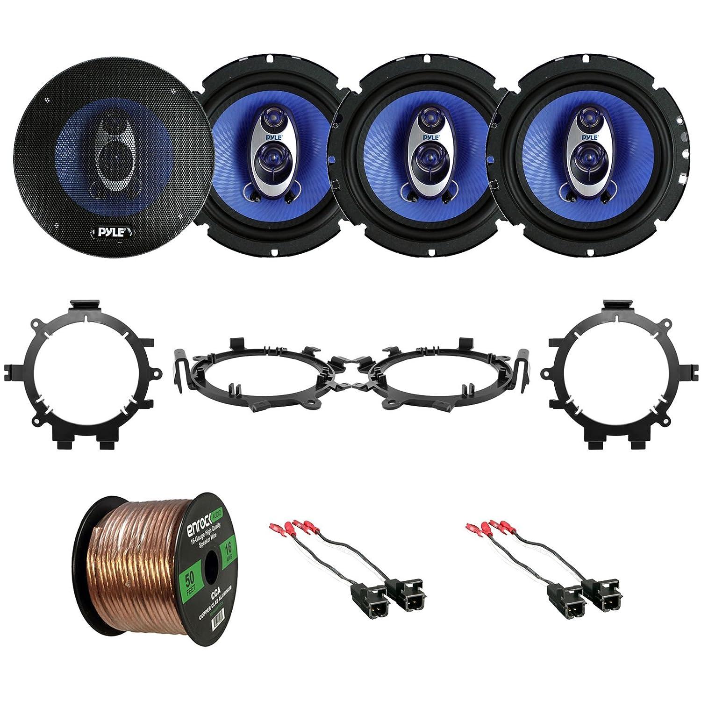 4X Mounting Brackets Adaptors 4X Metra Wire Harness Select 1995-2009 Vehicles EnrockAutomotive PL63BL-EGMSUVSA95-05 4X Pyle 6.5 360 Watt 3-Way Speakers 16-Gauge 50 Foot Wire