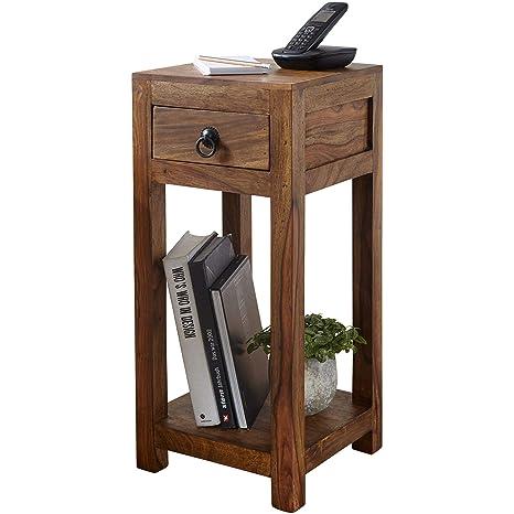 FineBuy Beistelltisch Massiv-Holz Sheesham 68 cm hoch Wohnzimmer-Tisch mit  Schublade Design Landhaus-Stil Couchtisch Natur-Produkt Wohnzimmermöbel ...