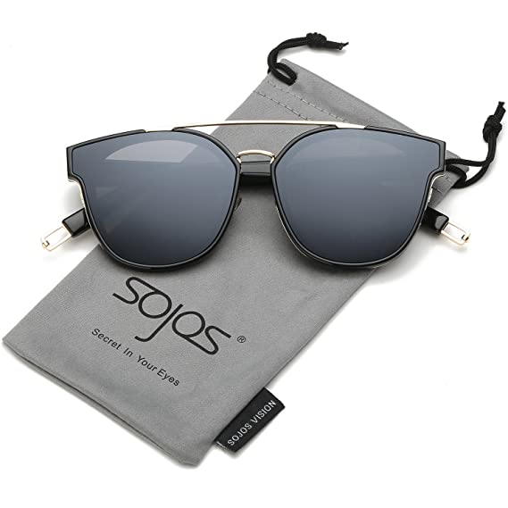 d8431197af2 SojoS Classic Sunglasses for Women Men Metal Frame Mirrored Lens SJ2038  SJ1008  Amazon.in  Clothing   Accessories