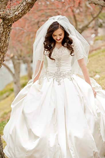 Amazon.com : Allure Bridals Wedding Gown - Full Skirt with Build in ...