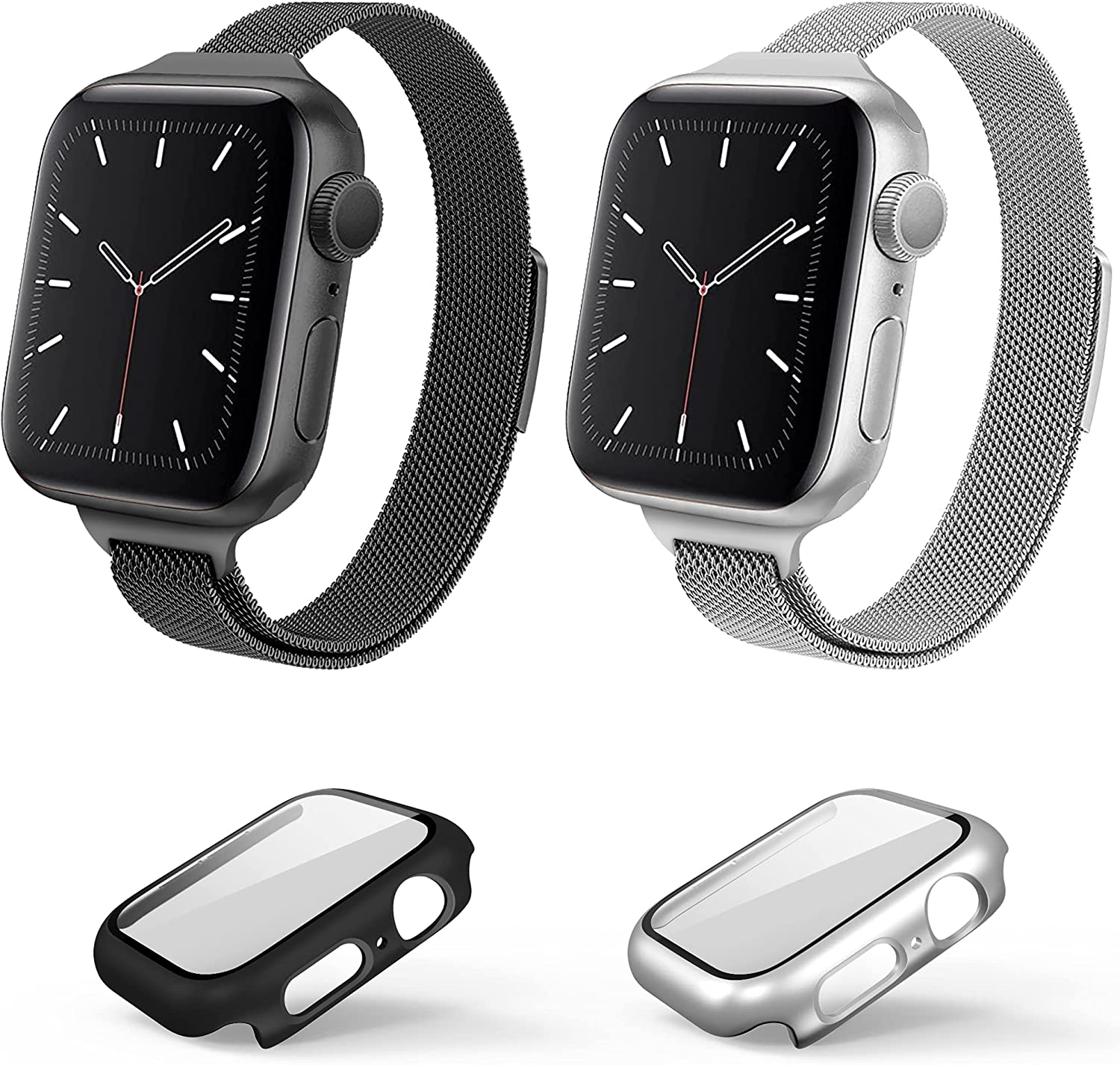 Metal Watch Band Compatible for Apple Watch Bands 38mm 40mm 42mm 44mm + Case,Slim & Thin Magnetic Stainless Steel Mesh Loop Band with Cases Built in Tempered Glass Screen Protector for iWatch Series SE/6/5/4/3/2/1,2 Pack