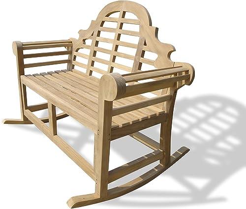 Windsor's Premium Grade A Plantation Teak Lutyens Double Rocking Chair/Bench 53″/50lbs,5 Year Warranty