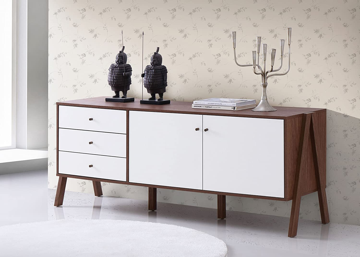 Amazon.com   Baxton Furniture Studios Harlow Mid Century Modern Scandinavian  Style Wood Sideboard, White And Walnut   Buffets U0026 Sideboards