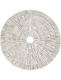 shimmer burlap creme ruffle trim rustic christmas tree skirt 50 inches holiday decoration - Silver Christmas Tree Skirt
