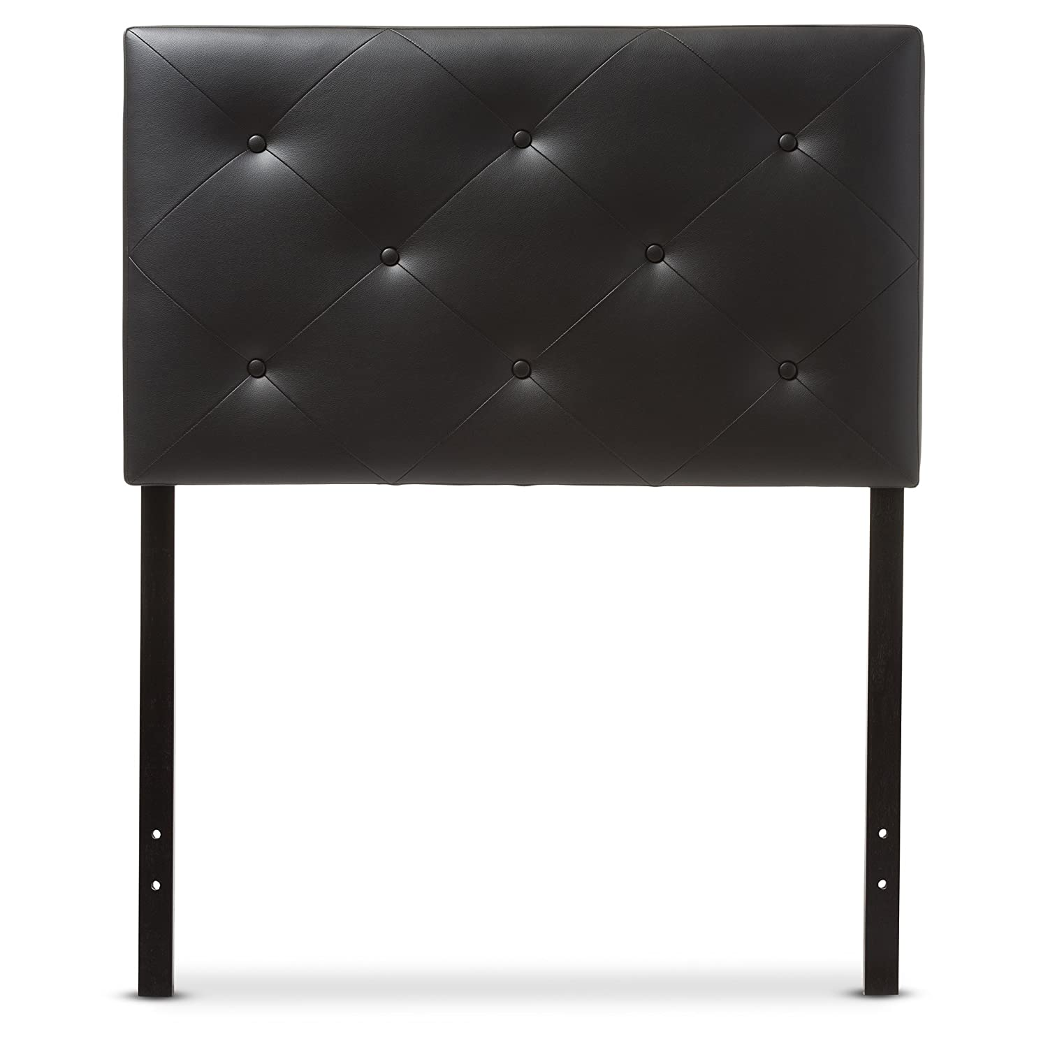 Baxton Studio Benoit Modern and Contemporary Black Faux Leather Upholstered Headboard - Twin