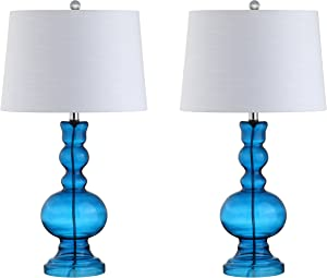"JONATHAN Y JYL1061C-SET2 Genie 28.5"" Glass LED Lamp Contemporary,Transitional for Bedroom, Living Room, Office, College Dorm, Coffee Table, Bookcase, Night Blue"