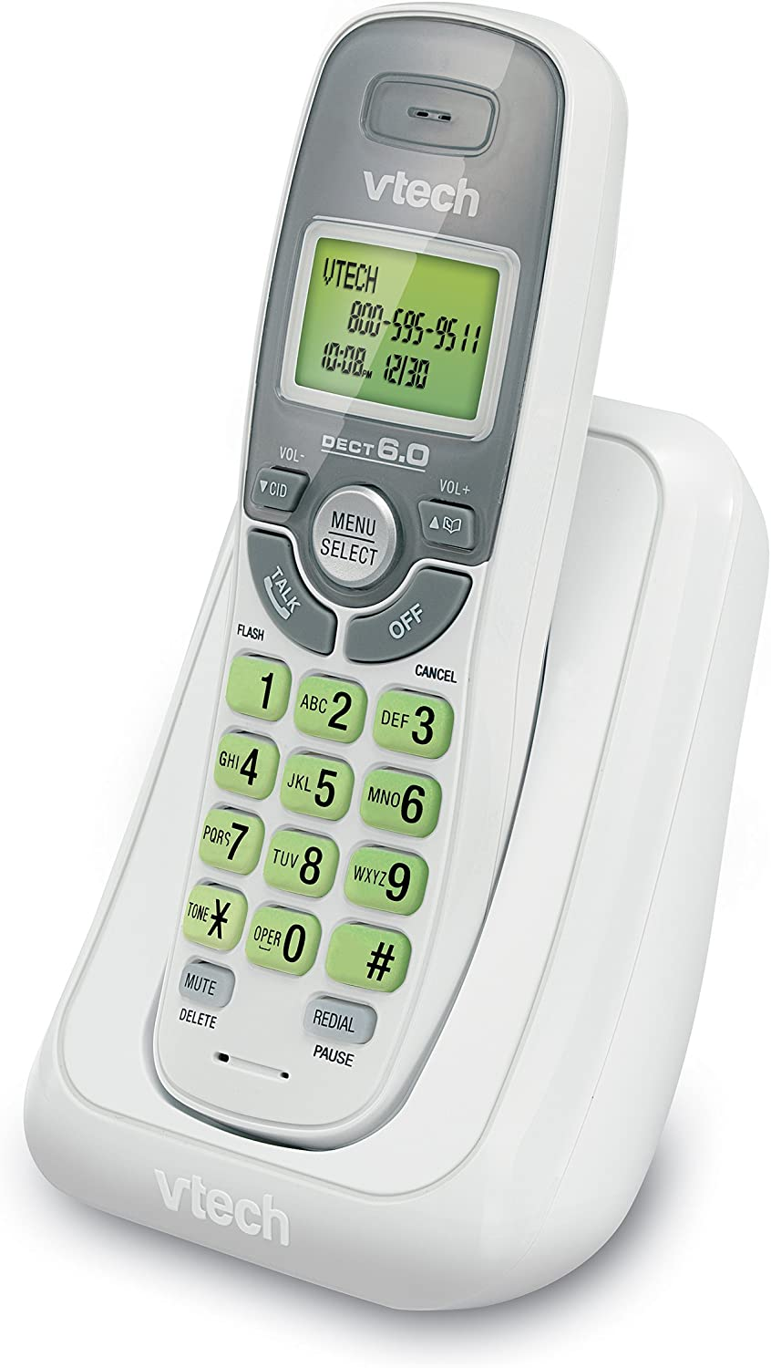 VTech CS6114 DECT 6.0 Cordless Phone with Caller ID/Call Waiting, White/Grey with 1 Handset: Electronics