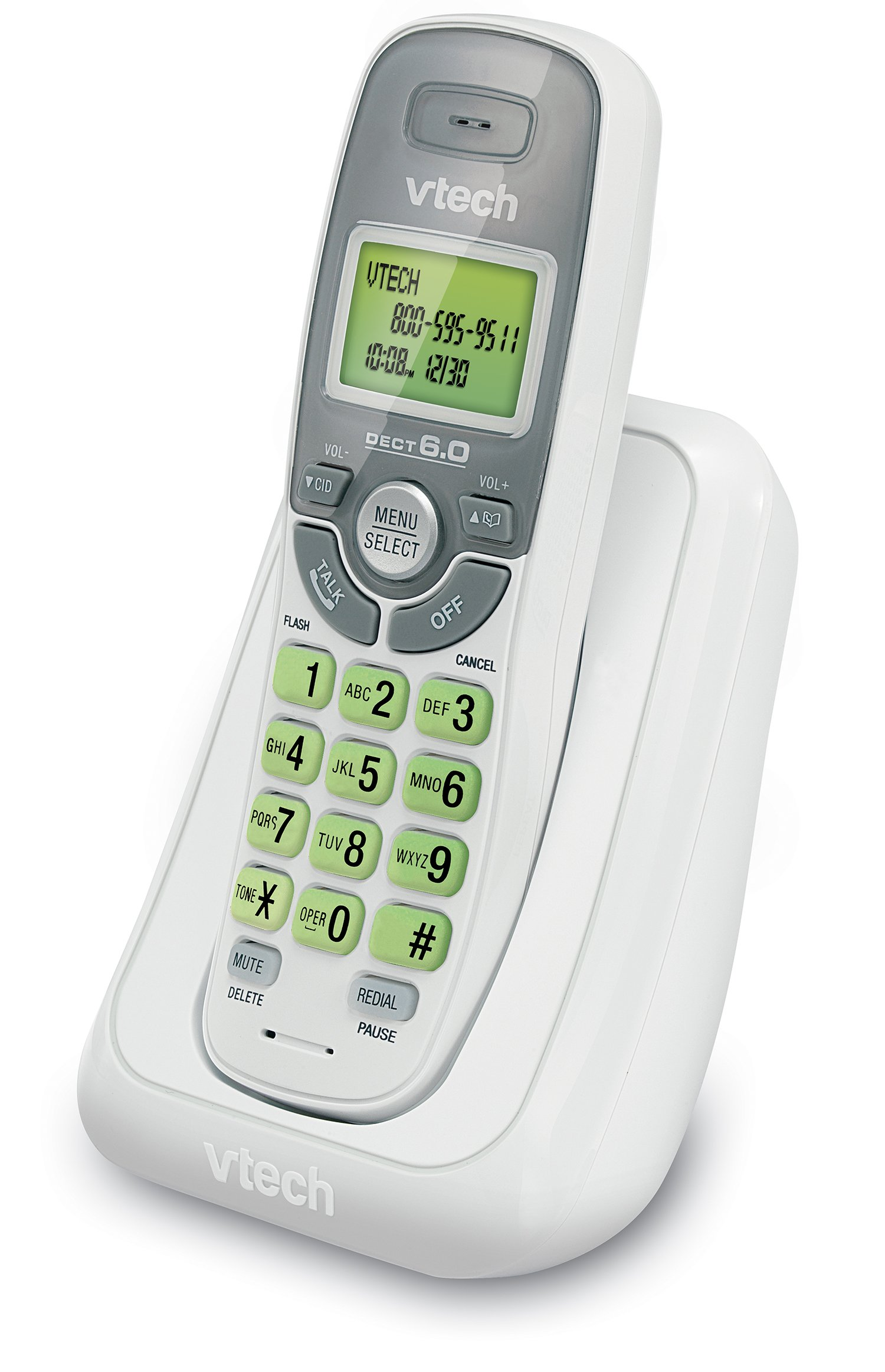 VTech CS6114 DECT 6.0 Cordless Phone with Caller ID/Call Waiting, White/Grey with 1 Handset by VTech