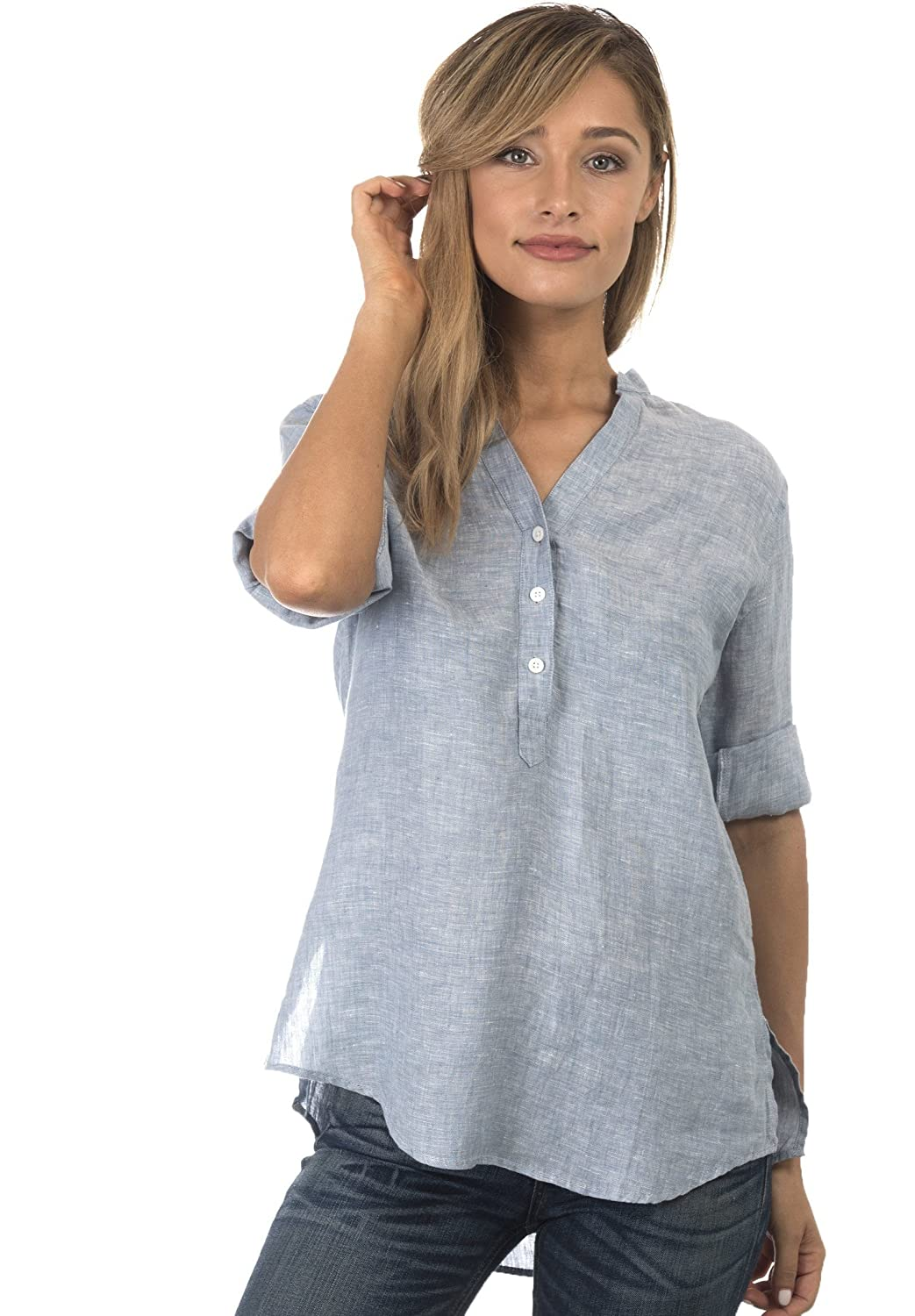 CAMIXA Women\'s Casual Button-up Popover Shirt Effortless Work to ...