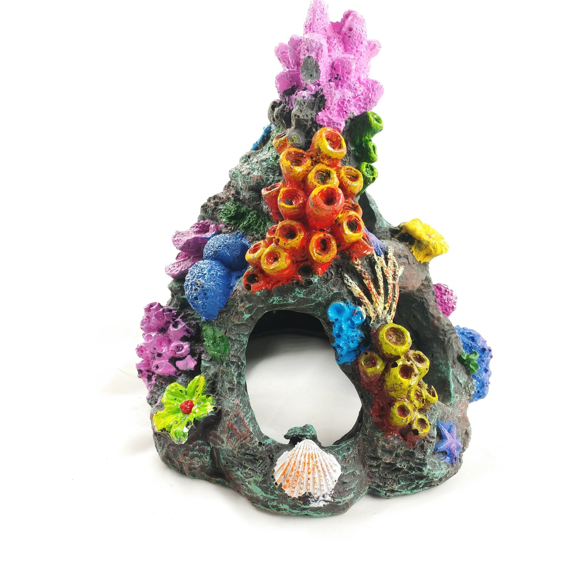 Stock Show 1Pc Polyresin Colorful Simulation Coral Rockery Aquarium Ornament Fish Hiding Cave Decoration Fish Tank Landscaping