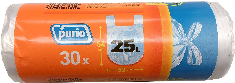 purio 10 Rollos Bolsas de Basura con Mango, 25 L, 30 ...