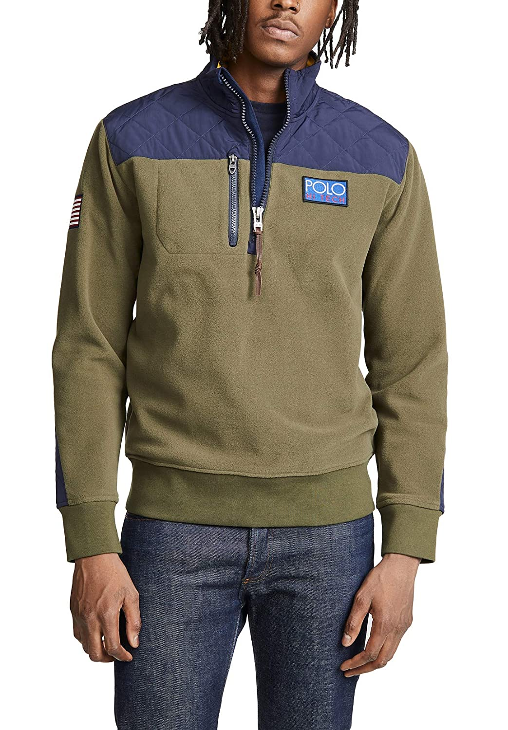 74f57fef3 Polo Ralph Lauren Hi Tech Hybrid Pullover (Olive/Navy, M) at Amazon Men's  Clothing store: