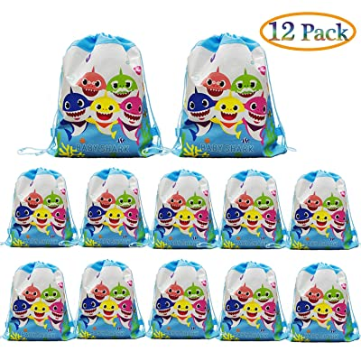 12 pcs Baby Shark Drawstring Backpack, Cute Shark Gift Favor Bags for Shark Party Shark Birthday party Supplies: Toys & Games